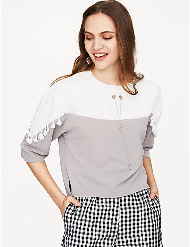 billige Dametopper-Bomull T-skjorte Dame - Ensfarget Oransje / Dusker