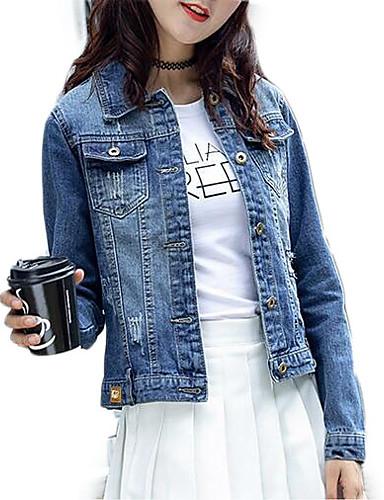 innovative design e8365 8f062 [$20.78] Damen Alltag Standard Jeansjacke, Solide Hemdkragen Langarm  Polyester Blau L / XL / XXL