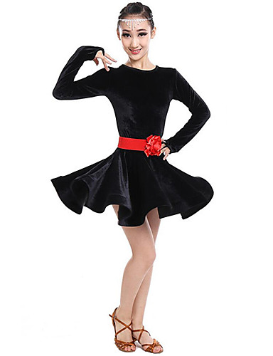 c0c59489f7 Taniec latynoamerykański Sukienki Dla dziewczynek Spektakl Poliester Szafra    Wstążka   Marszcząca się Długi rękaw Wysoki Sukienka