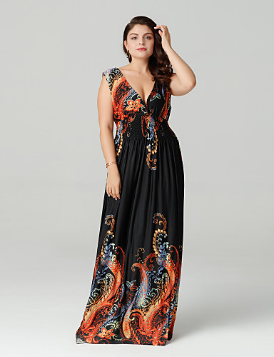 6d166eb4a99 Women s Plus Size Boho Maxi Swing Dress - Abstract Backless   Print Deep V  Summer Black XXXXL XXXXXL XXXXXXL