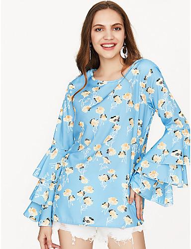 voordelige Damestops-Dames Standaard Print T-shirt Katoen, Uitgaan Grafisch Ruimvallend blauw L / Zomer / flare mouwen / Bloemen