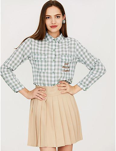 billige Dametopper-Skjortekrage Skjorte Dame - Ensfarget Aktiv Rosa