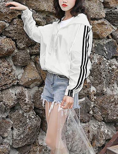 voordelige Damesblazers & jasjes-Dames Dagelijks Street chic Normaal Jack, Modern Capuchon Lange mouw Polyester Wit / Oranje