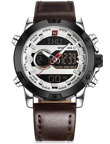 a1b10155451 NAVIFORCE Herre Kjoleur Armbåndsur Digital Watch Japansk Japansk Quartz  Rustfrit stål Sort / Hvid / Brun