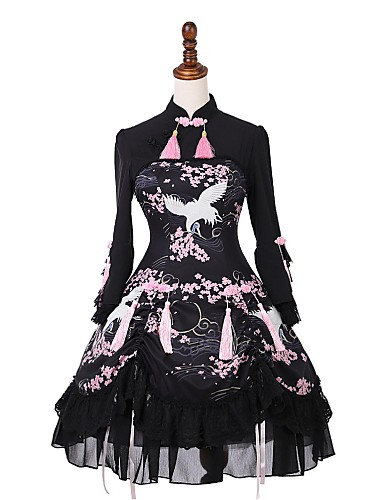 Sweet Lolita Dress Classic Lolita Dress Classic Lolita Traditional Lace  Female Party Costume Masquerade Cosplay Black Flare Sleeve 3 4 Length  Sleeve Knee ... b4928247335e