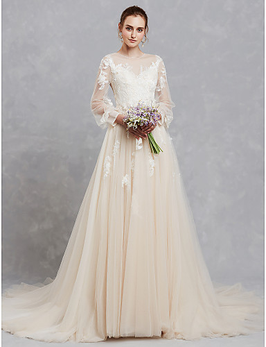 A-Line Bateau Neck Court Train Lace   Tulle Made-To-Measure Wedding Dresses  with Appliques   Lace by LAN TING BRIDE®   Illusion Sleeve 8c46f1be8611