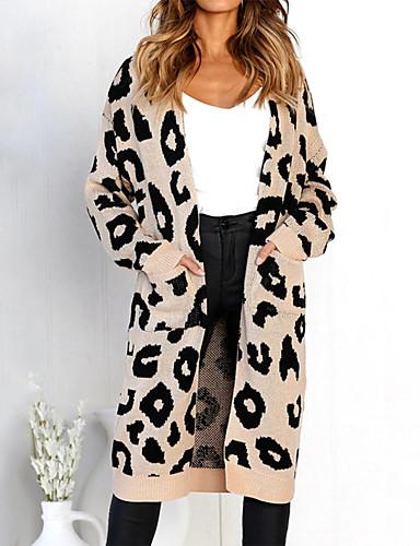 ac01b67a5ef6 Dámské Denní Základní Leopard Dlouhý rukáv Volné Dlouhé Kardigan