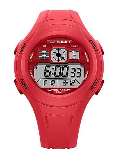SANDA Erkek Kadın's Spor Saat Dijital saat Japonca Dijital Silikon Siyah / Kırmızı / Yeşil 30 m Su Resisdansı Takvim Kronometre Dijital Karikatür Moda - Yeşil Pembe Açık Mavi / Gece Parlayan