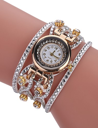 32144d2a3 Women's Bracelet Watch Diamond Watch Quartz Wrap Quilted PU Leather Black /  White / Blue New Design Casual Watch Imitation Diamond Analog Ladies Casual  ...