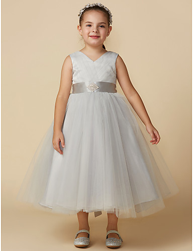 d2caa9e9f922 Ball Gown Tea Length Flower Girl Dress - Tulle Sleeveless V Neck with  Crystals by LAN TING BRIDE®