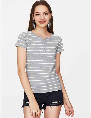 abordables Hauts pour Femmes-Tee-shirt Femme, Rayé - Coton Imprimé Vacances Basique Col en V Blanche / Eté / fines rayures