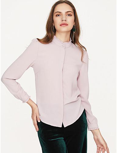 billige Dametopper-Bomull Skjortekrage Skjorte Dame - Ensfarget, Moderne Stil Chic & Moderne Dusty Rose Hvit