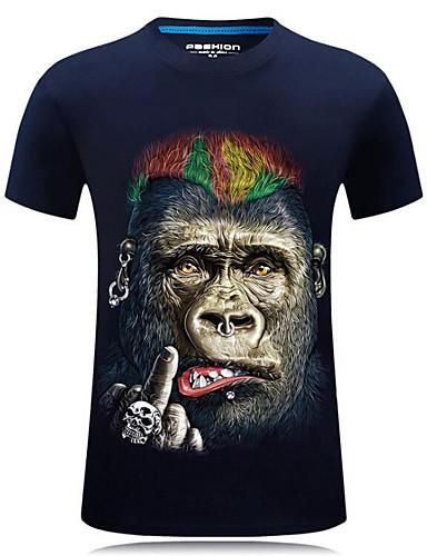 お買い得  メンズTシャツ&タンクトップ-男性用 プリント プラスサイズ Tシャツ ストリートファッション ラウンドネック 動物 ブラック XXXXL / 半袖 / 夏