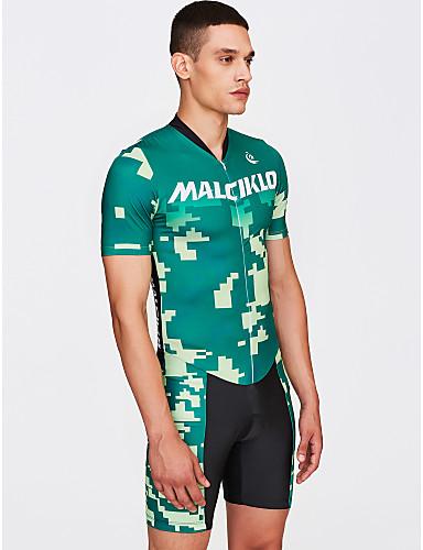 Malciklo Hombre Manga Corta Traje Tri - Verde camuflaje / Británico Bicicleta Secado rápido, Transpirable Coolmax® / Licra
