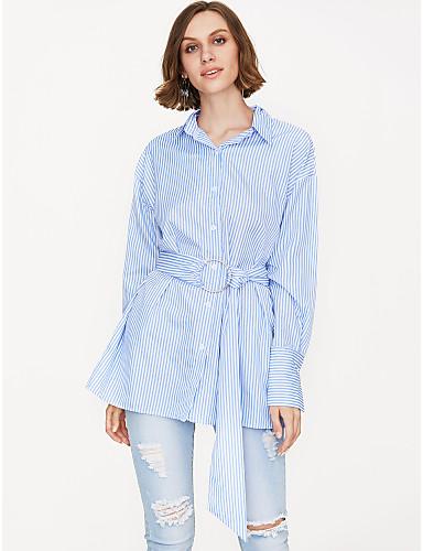 billige Dametopper-Skjortekrage Skjorte Dame - Stripet Blå / Vår / Snøring / fin Stripe