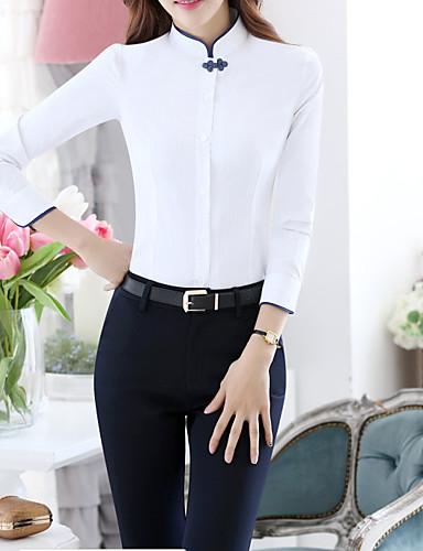 billige Dametopper-Tynn Høy krage Store størrelser Skjorte Dame - Ensfarget, Lapper Grunnleggende Arbeid Blå