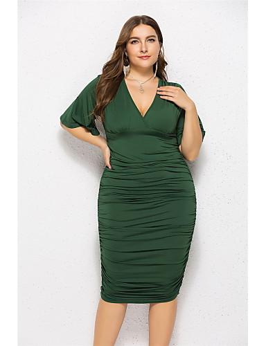 c6728ceee0e Women s Birthday Slim Bodycon Dress - Solid Colored Deep V Summer Green  Black Fuchsia XXL XXXL XXXXL