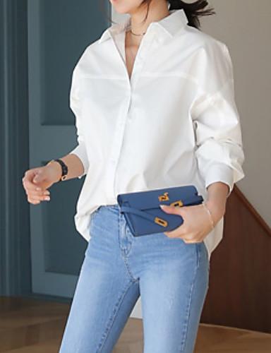 abordables Hauts pour Femme-Chemise Femme, Couleur Pleine Travail Basique Col de Chemise Mince Bleu