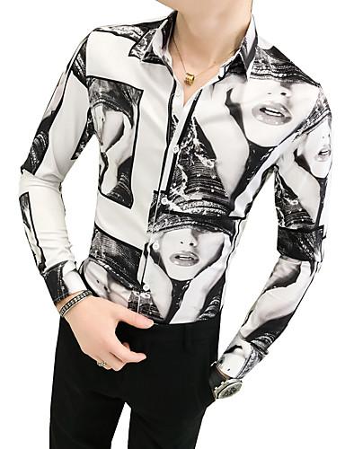 voordelige Uitverkoop-Heren Vintage Overhemd Portret Klassieke boord Slank Zwart / Lange mouw / Herfst