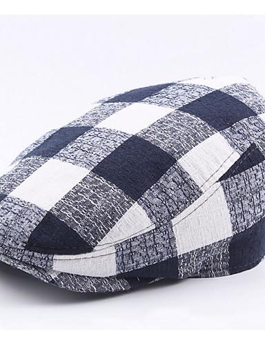 voordelige Uitverkoop-Heren Standaard Polyester,Ruitjes Baret Zwart Marineblauw Grijs
