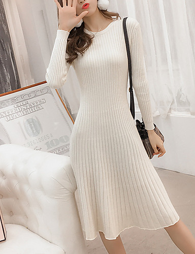 0a694fe460f Women's Daily Basic Slim Sweater Dress Patchwork High Waist Crew Neck Fall  Cotton Brown Black Camel S M L