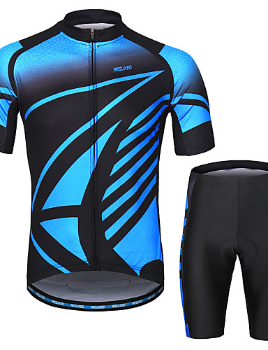cheap Cycling Clothing-Arsuxeo Men's Short Sleeves Cycling Jersey with Shorts - Blue Bike Clothing Suit 3D Pad Moisture Wicking Sports Painting Mountain Bike MTB Road Bike Cycling Clothing Apparel / Micro-elastic