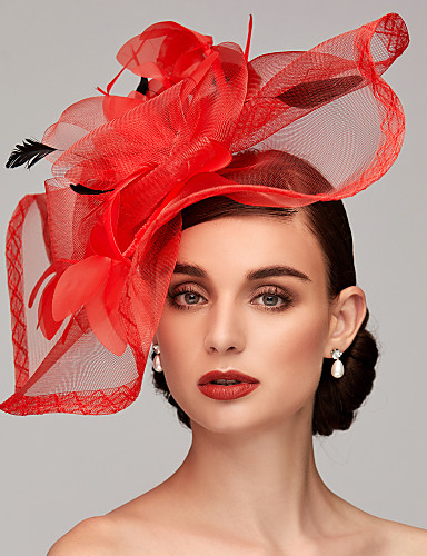 cheap Ships in 24 Hours-Feather / Net Fascinators / Headpiece with Feather / Floral / Flower 1pc Wedding / Special Occasion Headpiece