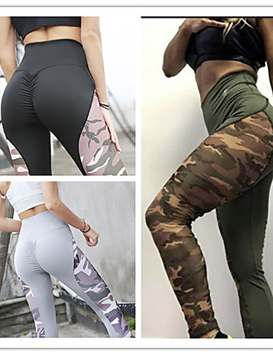 47f3a3e7569e6 Women's Patchwork Yoga Pants Black Gray Army Green Sports Print Spandex  High Rise Tights Leggings Zumba Dance Running Activewear Anatomic Design  Butt Lift ...