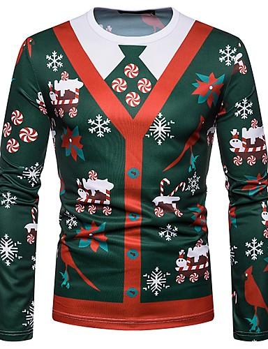 voordelige Uitverkoop-Heren T-shirt Kerstmis Geometrisch Ronde hals Klaver / Lange mouw