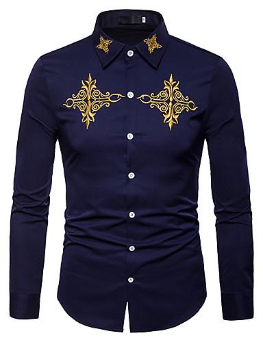 voordelige Uitverkoop-Heren Zakelijk / Vintage / Standaard Geborduurd Overhemd Werk Effen / Kleurenblok Slank Wit / Lange mouw