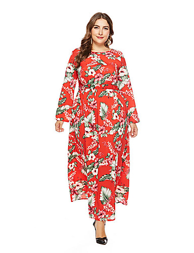 voordelige Grote maten jurken-Dames Grote maten Feestdagen Uitgaan Street chic Elegant Slank Schede Wijd uitlopend Jurk - Bloemen, Print Maxi Hoge taille / Hoge taille