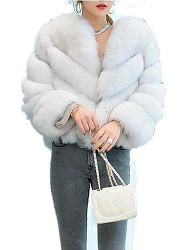 bcaaab52f0 Women's Daily Basic Fall & Winter Short Fur Coat, Solid Colored Round Neck  Long Sleeve Faux Fur Purple / Wine / Light gray XL / XXL / XXXL