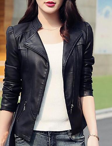 billige Damepelse og læder-Høj krave Dame Ensfarvet Basale Læderjakker