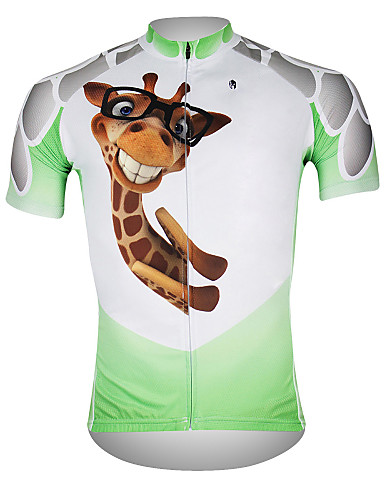 cheap Cycling Clothing-ILPALADINO Men's Short Sleeve Cycling Jersey White / Green Bike Jersey Top Breathable Quick Dry Ultraviolet Resistant Sports 100% Polyester Mountain Bike MTB Road Bike Cycling Clothing Apparel