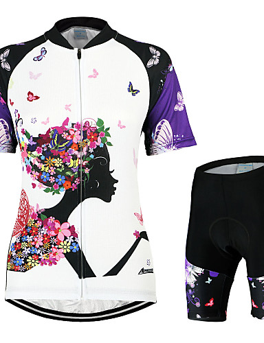 cheap Cycling Clothing-Arsuxeo Women's Short Sleeve Cycling Jersey with Shorts - White / Black Butterfly Bike Clothing Suit Breathable 3D Pad Quick Dry Anatomic Design Back Pocket Sports Polyester Elastane Butterfly