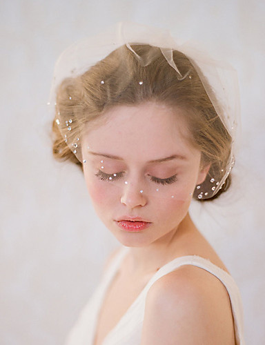 رخيصةأون طرحات الزفاف-One-tier نمط عتيق / الطراز الكلاسيكي الحجاب الزفاف Blusher Veils مع لون واحد / كريستال / أحجار الراين تول