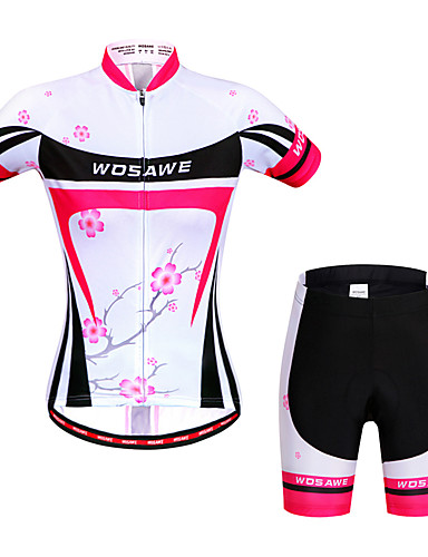 cheap Cycling Clothing-WOSAWE Women's Short Sleeve Cycling Jersey with Shorts - Peach Bike Shorts Jersey Clothing Suit Breathable 3D Pad Quick Dry Anatomic Design Reflective Strips Sports Elastane Floral / Botanical