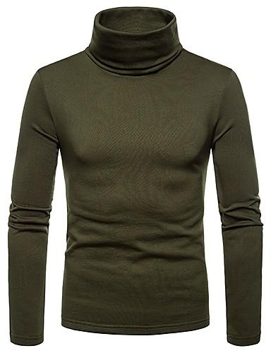 hesapli Erkek Tişörtleri ve Atletleri-Erkek Boğazlı Tişört Solid Koyu Mavi / Uzun Kollu