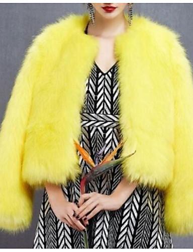 Per donna Quotidiano Essenziale Standard Cappotto di pelliccia, Tinta unita Rotonda Manica lunga Poliestere Giallo XL / XXL / XXXL