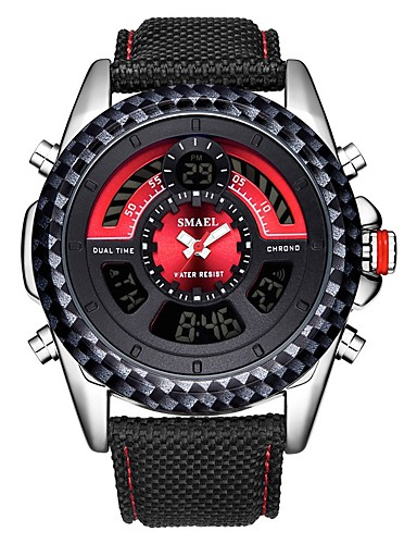 0f917d9bf9 SMAEL Men's Sport Watch Digital Watch Japanese Japanese Quartz Nylon Black  30 m Water Resistant / Waterproof Calendar / date / day Chronograph Analog  ...