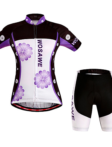 cheap Cycling Clothing-WOSAWE Women's Short Sleeve Cycling Jersey with Shorts - Purple Floral Botanical Bike Shorts Jersey Padded Shorts / Chamois Windproof Breathable 3D Pad Quick Dry Sports Polyester Spandex Floral