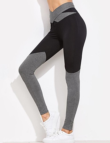 1507b0a31 Women s Bow Yoga Pants Black Gray Sports Color Block Elastane High Rise Leggings  Zumba Running Fitness Activewear Breathable Soft Butt Lift High Elasticity  ...