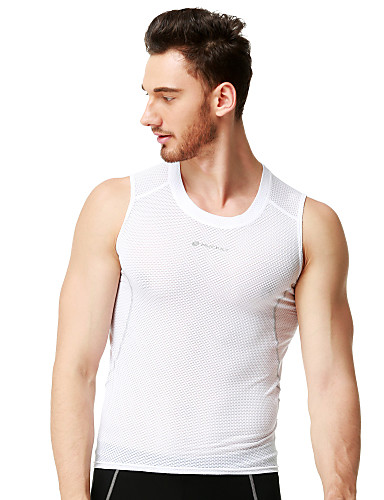 cheap Cycling Clothing-Nuckily Men's Women's Sleeveless Cycling Vest - White Solid Color Bike Vest / Gilet Jersey Breathable Quick Dry Anatomic Design Reflective Strips Sweat-wicking Sports Polyester Solid Color Mountain