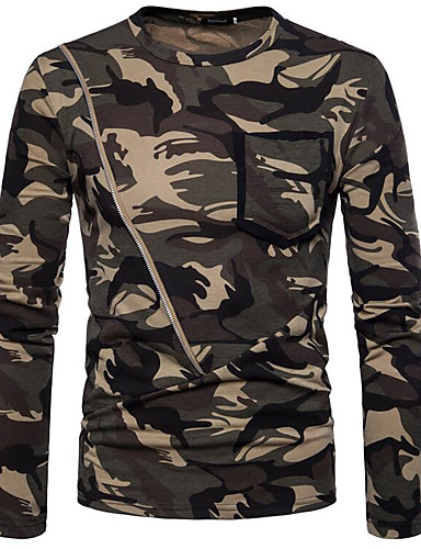 7ba1cd61db02 Ανδρικά T-shirt Βασικό καμουφλάζ Στρογγυλή Λαιμόκοψη Καφέ L   Μακρυμάνικο