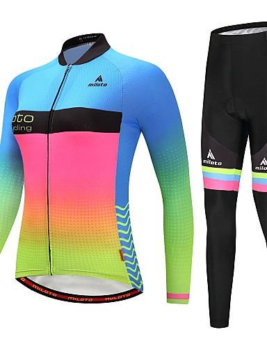 cheap Cycling Clothing-Miloto Women's Long Sleeve Cycling Jersey with Tights Cycling Jacket with Pants - Blue+Yellow Luminous Gradient Plus Size Bike Reflective Strips Back Pocket Winter Sports Fleece Gradient Mountain