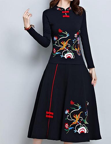 abordables Jupes-Femme Chinoiserie Soirée Quotidien Balançoire Jupes - Couleur Pleine Géométrique Taille haute Noir Rouge XXL XXXXL XXXXXL