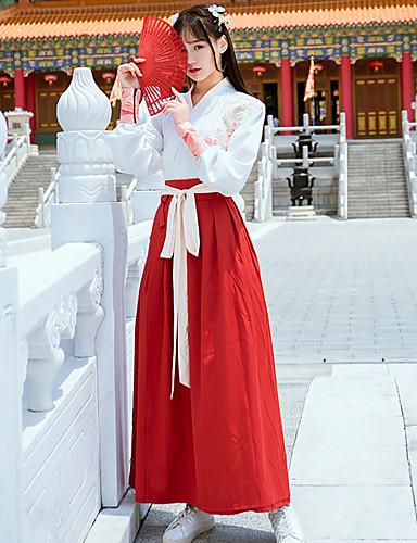 hesapli Dans kostümleri-Dans kostümleri Hanfu Kadın's Eğitim / Performans Pamuklu / Polyester Nakış Uzun Kollu Etekler / Top / Kemer
