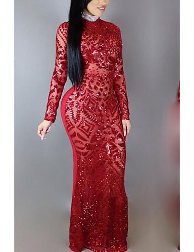 Žene Izlasci Elegantno Slim Bodycon Haljina Jednobojni Uski okrugli izrez Maxi