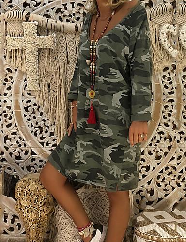 924a87a1a82e Women s Going out   Weekend Basic   Street chic Loose T Shirt Dress -  Abstract Print
