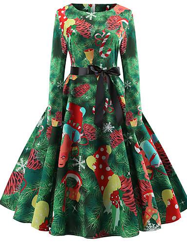 tanie W stylu vintage-Damskie Wyjściowe Vintage Elegancja Bawełna Szczupła Swing Sukienka - Kwiaty, Nadruk Do kolan